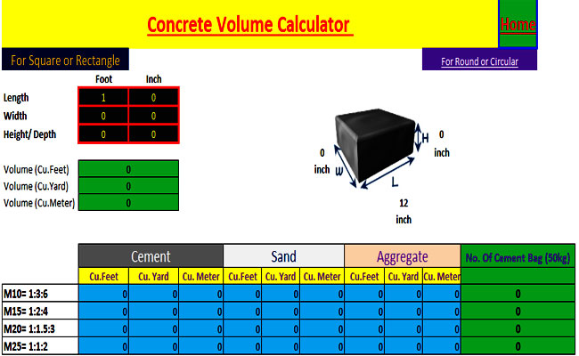 concrete, brick and steel calculator