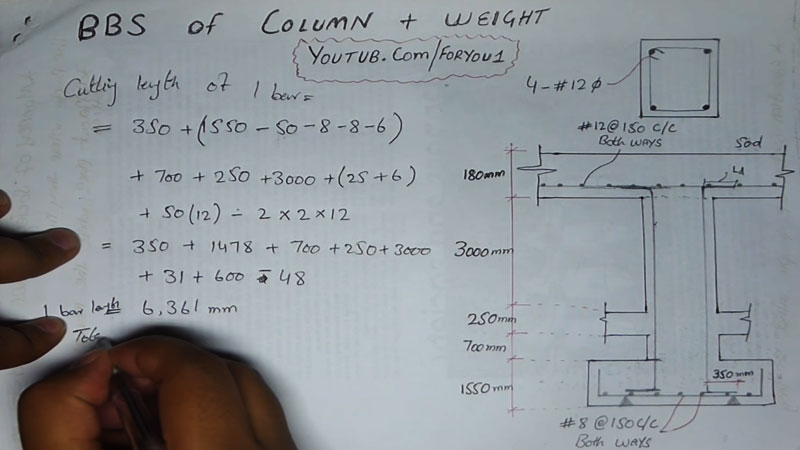 bar bending schedule of column and calculate